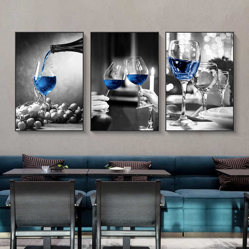 Blue Wine Glass Canvas Art Prints Poster Modern Wall Picture Bar Restaurant Kitchen Wall Decoration Dinning Living Room Decor Painting Calligraphy Aliexpress