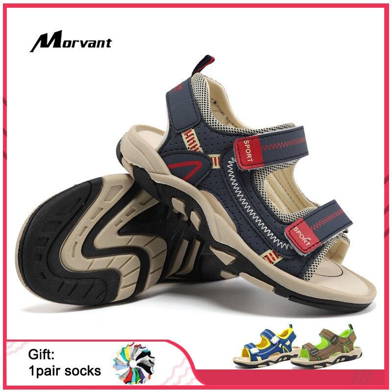 Kids Sandals Closed Toe Toddler Boys Sandals Soft PU Leather Children's Beach Sandals Comfortable Kids Sandals