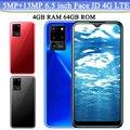 Разблокированные мобильные телефоны с Каплевидным экраном, Note 10 5 Мп + 13 МП, 4G LTE, идентификация по лицу, 4 Гб ОЗУ, 64 Гб ПЗУ, 6,5 дюйма, Android телефон...