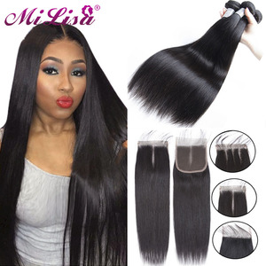 Mi Lisa Straight Hair Bundles With Closure Malaysian Remy Human Hair Extension 3 Bundle with Closure Middle Part Lace Closure(China)