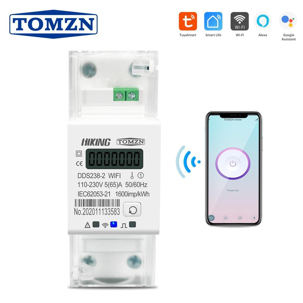 Приложение Smart Life Tuya однофазный din-рейку WI-FI умный измеритель энергии таймер Мощность контроль потребления кВтч метр ваттметр 220V 50/60Hz