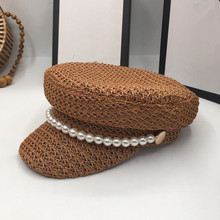 Pearl summer hat female new spring andstraw braided light breathable fashion casual sunscreen sunscreen cap tide