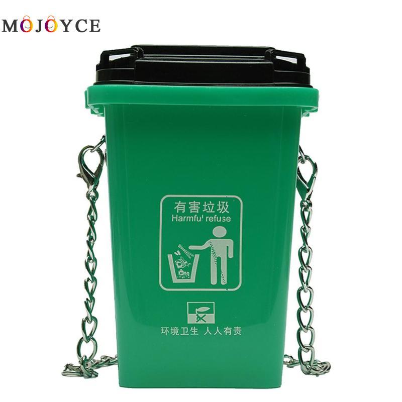 PVC Women Mini Shoulder Crossbody Bag Fashion Trash Can Shape Design Ladies Chain Messenger Bag