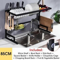 Étagère de cuisine organisateur plat étendoir sur évier porte-ustensiles bol plat égouttoir étagère cuisine rangement comptoir organisateur