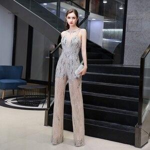 Image 3 - Combinaison de luxe pour femmes, perles lourdes scintillantes, sexy, pantalons formels, tenue de soirée