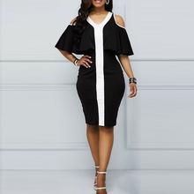Женское винтажное коктейльное платье миди черное облегающее
