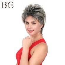 BCHR короткий Омбре серебристо-серый синтетический парик, парики для женщин, темные корни волос для повседневного костюмированной вечеринки