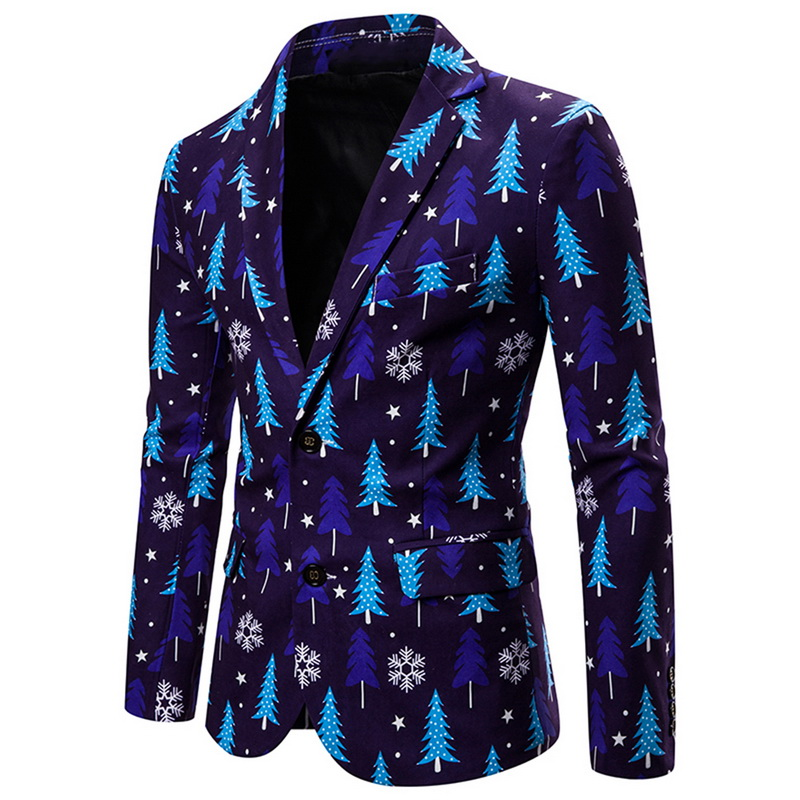 Men's Fashion Suit 3D Christmas Floral Print Painting Blazers Jacket Men Party Coat Casual Slim Blazer Buttons Suit