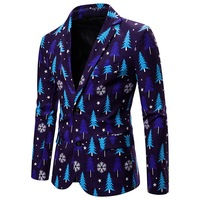 Men's Fashion Suit 3D Christmas Floral Print Painting Blazers Jacket Men Party Coat Casual Slim Blazer Buttons Suit