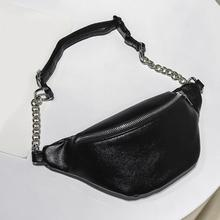 2019 New Waist Bag Women Belt Pu Leather Fanny Packs Solid Chest Bum  Pouch Black White