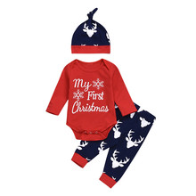 3 предмета, боди для новорожденных девочек с принтом «My First Christmas», штаны с принтом оленя шапка, Рождественский комплект одежды для маленьких девочек