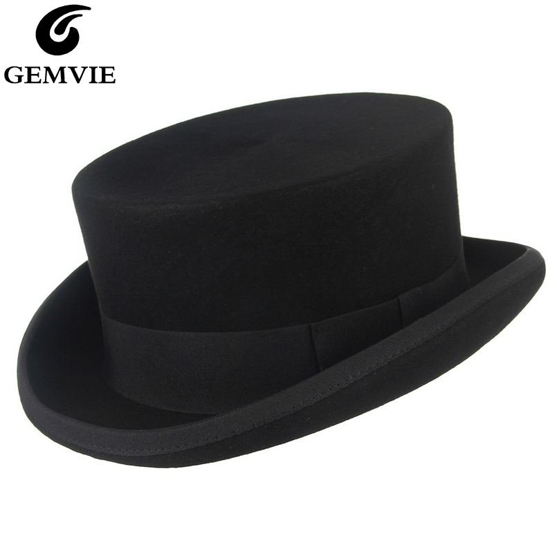 GEMVIE 11cm 100% Wool Felt Top Hat For Men/Women New Cylinder Hat Topper Mad Hatter Party Costume Fedora Derby Magician Hat