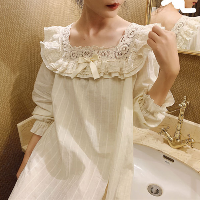 Nightgown Vintage Nightdress Princess Women Sleepwear Dress Nightshirts For Women Nightgown