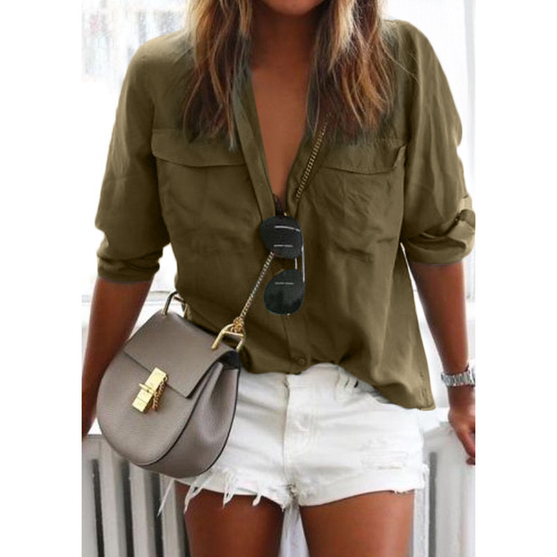 women blouse fashion 2020  female ladies clothing womens solid pockets top sexy shirt top 90s