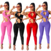 JRRY Women Faux Leather Jumpsuits Zippers Long PantsHigh Elasticity Bodysuit Casual Ladies PU Cropped Outdoor Wear 1