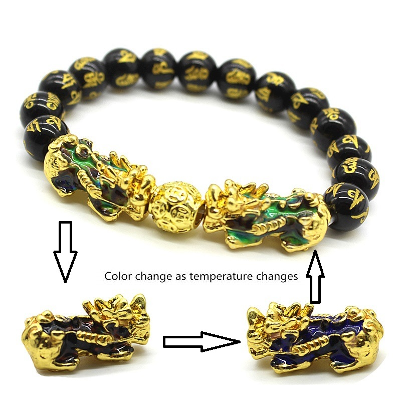 Men's Bracelet Feng Shui Obsidian with Gold-Plating Pi Xiu Bracelet Men Wealth Brave Jewelry