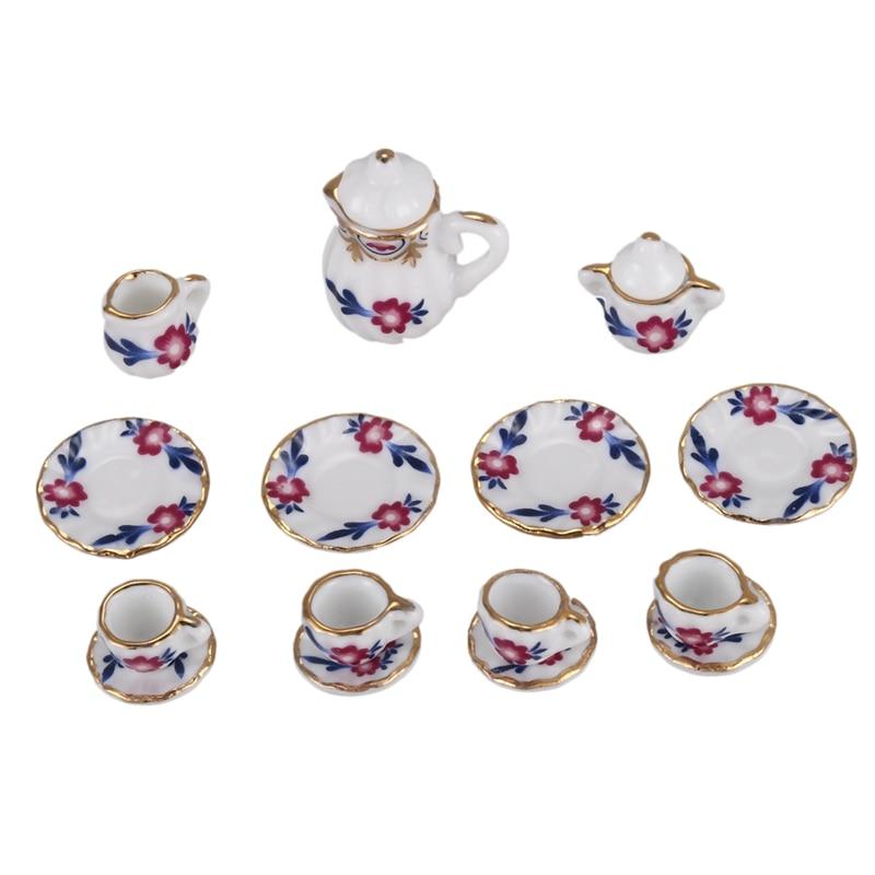 15pcs Dollhouse Miniature Dining Ware Porcelain Tea Set Dish Cup Plate (petunia)