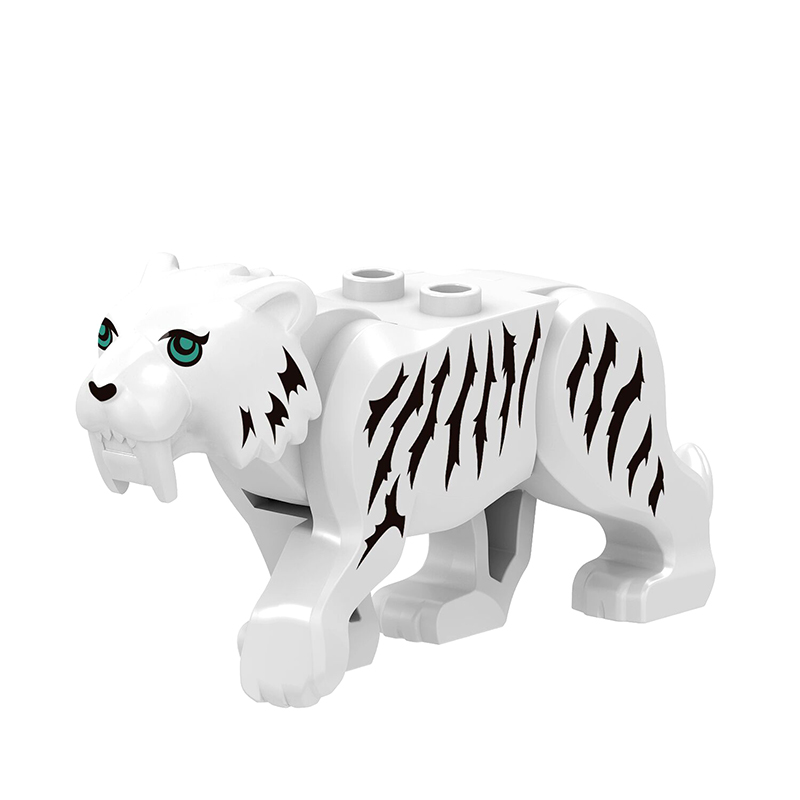 Locking City Animals White Tiger Educational Toys Child's Birthday Oresent Accessories Building Blocks Compatible Figures Madel