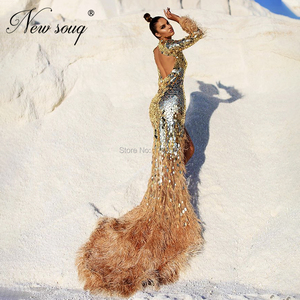 Image 4 - Handmade Crystal Mermaid Evening Gowns Feathers Formal Dress Vestidos 2020 Arabic Dubai Beaded Prom Dresses Vetidos Customized