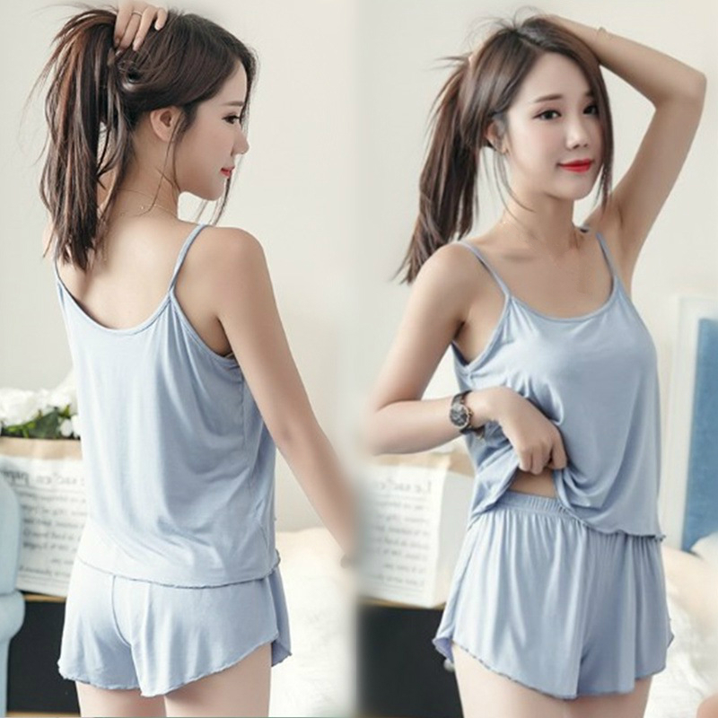 Pajamas For Girls Sky Blue Camisole Shorts Suit Female Summer Spaghetti Strap Two Piece Set Homewear Tank Tops Women Plus Size