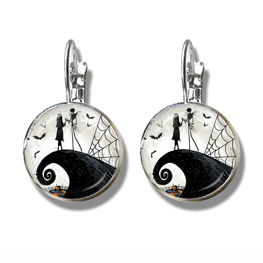 Xmas French Hooks Earrings Jack Skellington And Sally Nightmare Before Chrismas Jewelry Halloween Valentine's Day Gift 2