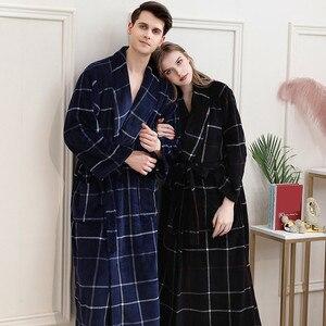 Зимняя одежда для пар, клетчатые халаты, комплекты для влюбленных, плотная теплая фланелевая Домашняя одежда, Модный комплект одежды для сн...