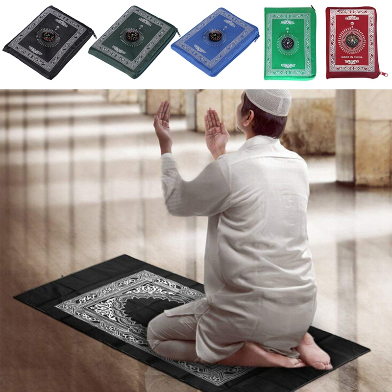 Muslim Prayer Rug Polyester Portable Braided Mats Simply Print With Compass In Pouch Travel Home New Style Mat Blanket New
