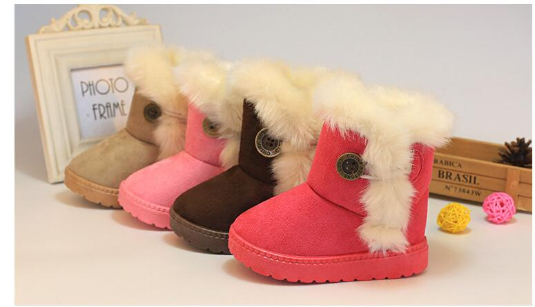 Winter Children Boots Thick Warm Shoes Cotton-Padded Suede Buckle Girls Boots Boys Snow Boots Kids Shoes 6 Colors (size 21-35)