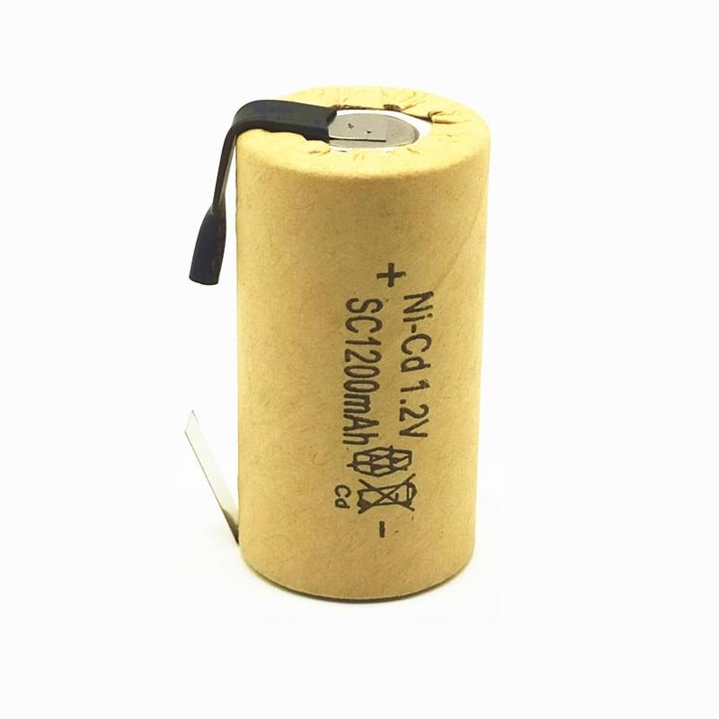 13 pièces/lot batterie de haute qualité batterie rechargeable sous batterie SC ni-cd batterie 1.2 v avec onglet 1200 mAh pour outil électrique