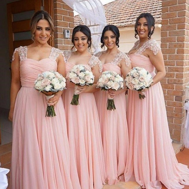Charming Cap Seelve Pink Chiffon Beaded Ruffle Wedding Guest Dresses Vestidos Para Dama De Honor