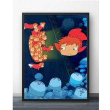 Prints Home Decor Schilderen Nordic Stijl Anime Ponyo on The Cliff Foto Muur Kunstwerk Modulaire Canvas Poster Moderne Voor Kid kamer(China)