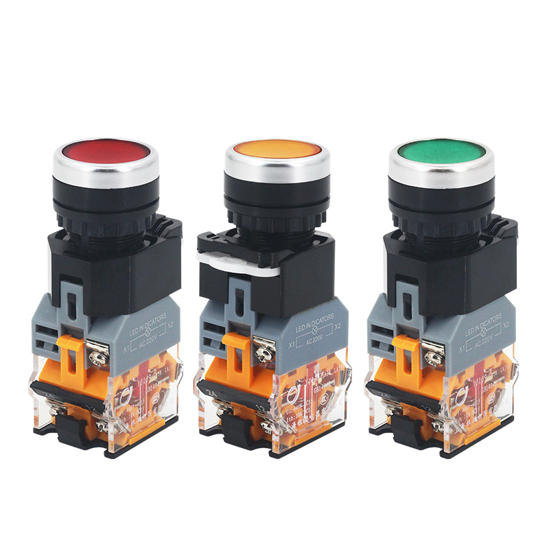 1PCS LA38-11D/11DS Quality Sliver Contact Push Button Switch With Light On/Off Momentary/Latching 22mm 220V 24V LED Indicators
