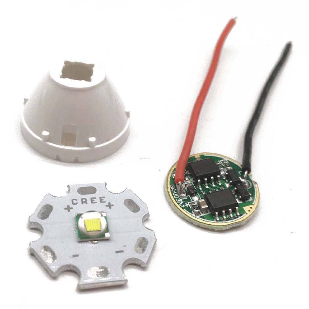 Dimmable Driver 5 Mode F Input Voltage DC 3.7V~15V Cree XML-T6 White Color 10w