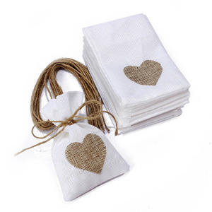 1 PC 10x14CM Wedding Gift Bags Jewelry Bag Trendy White Natural Linen Drawstring Wedding Favor Bags Pouch Heart Shape