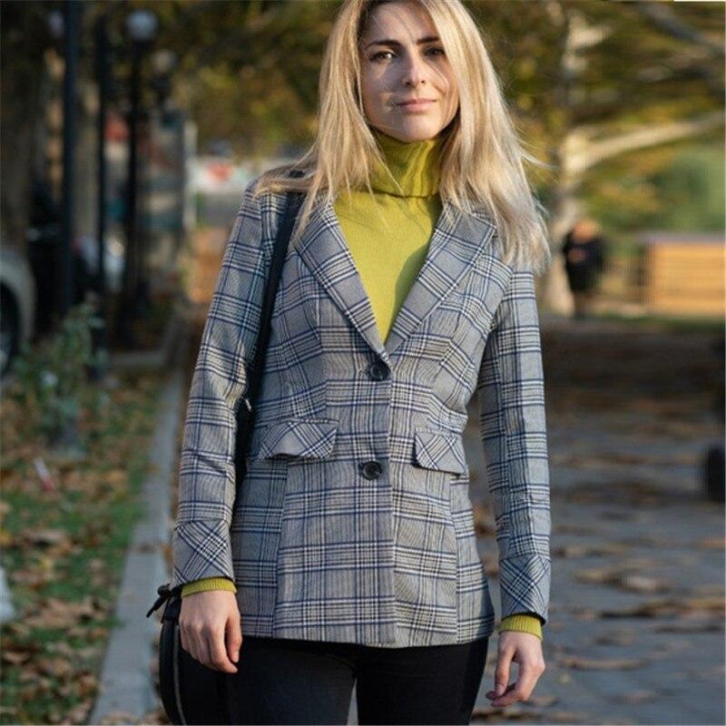 Plaid Womne Blazer Long Sleeve Turn Down Collar Loose Ladies Blazer Suit Coats Office Work Wear Casual Jacket Outwear P752