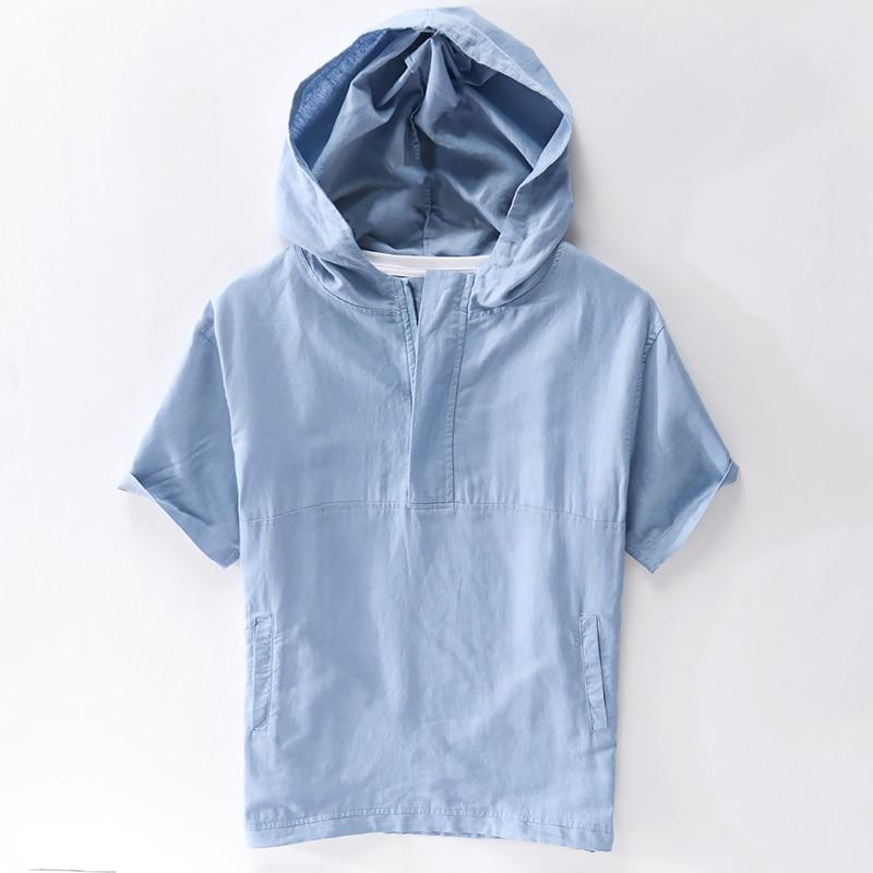 2020 Unique Design Hooded Short Sleeve Linen Shirt Men Brand Fashion Loose Shirts For Men Casual Trend Shirt Mens Chemise Camisa
