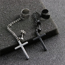 Rinhoo 1 Pcs Punk Gothic Tassel Cross Earrings Stainless Steel Round Drop Earrings Women Men Fashion Party Punk Rock Jewelry