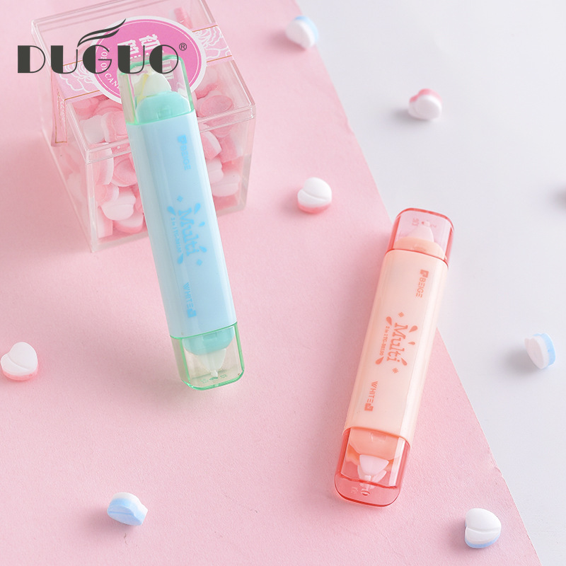DUGUO Cute Stationery Double Head Correction With Transparent Film With Beige Creative Correction Tape Kawaii Supplies