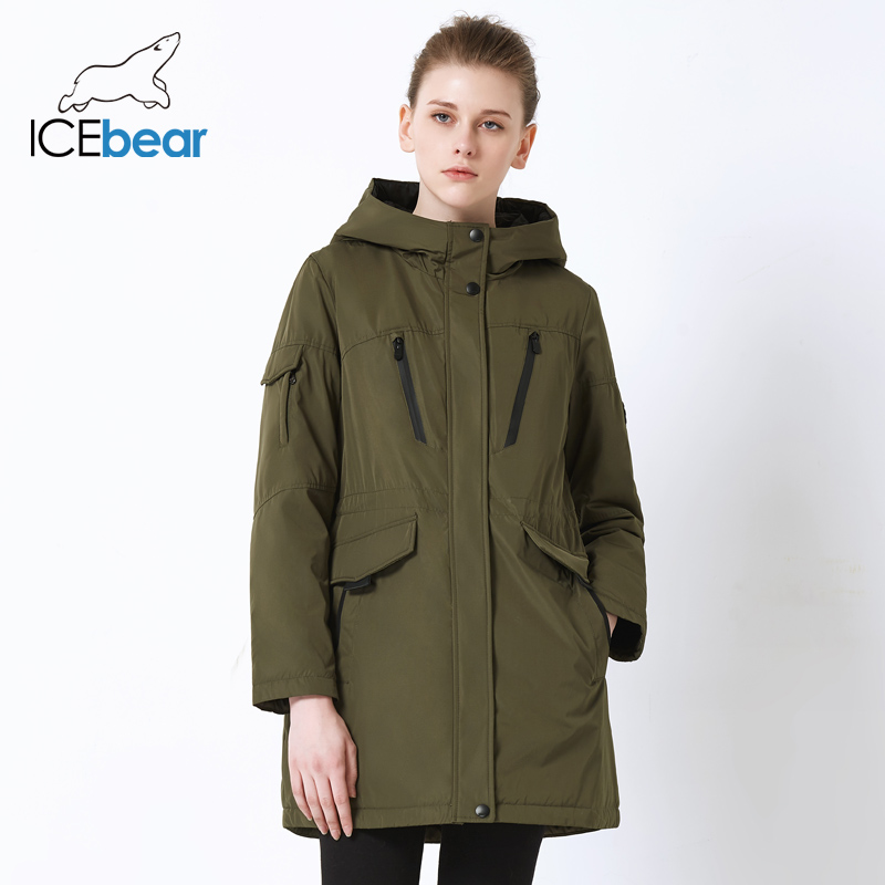 ICEbear 2019 new fall women jacket high quality casual ladies jacket slim hooded brand jacket GWC18010I-in Parkas from Women's Clothing