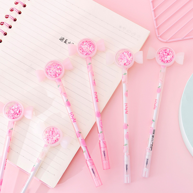 Cute Shiny Drift Sand Candy Head Peach Gel Pen Rollerball Pen School Office Supply Student Stationery 0.38mm Black Ink