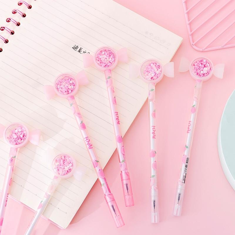 Cute Shiny Drift Sand Candy Head Peach Gel Pen Rollerball Pen School Office Supply Student Stationery 0.38mm Black Ink