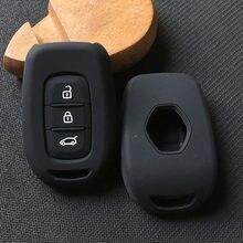 Capa de silicone para chaves de carro, capa de 3 botões para renault ridjar megane koleos clio capturd para dacia logan key