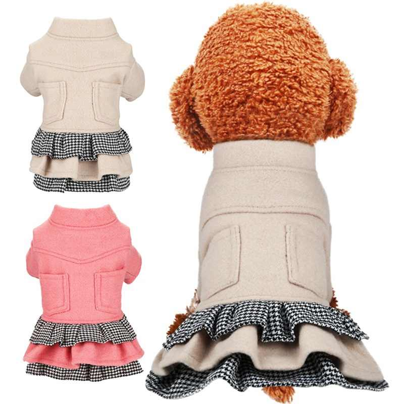Pet Autumn And Winter Clothes Costume Dog Princess Dress Warm Skirt Thickening Woolen Overcoat