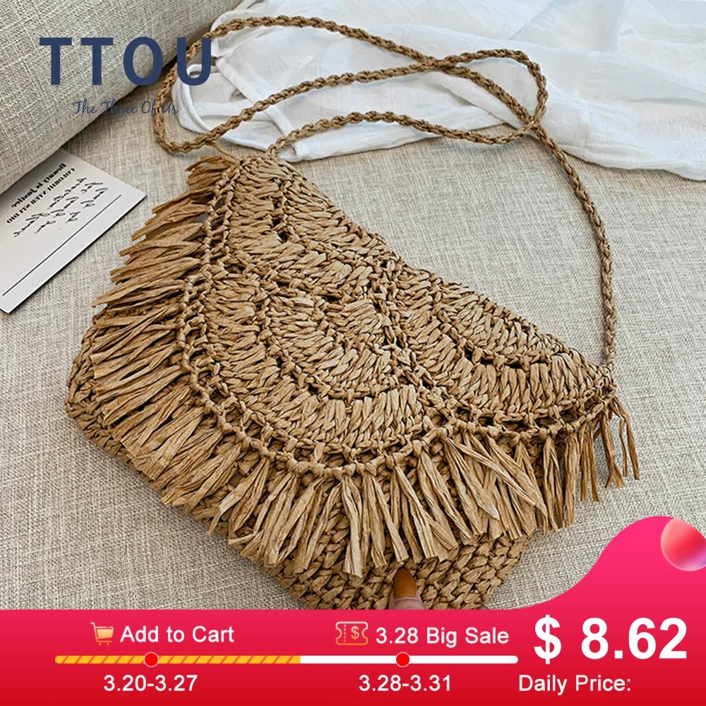 Bohemian Round Long Tassel Straw Bags Rattan Women Crossbody Bags Wicker Lady Shoulder Bag Small Purses Summer Beach Bali Bags
