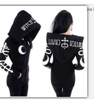 Phong Cách Punk Nữ Khoác Hoodie Gothic Mặt Trăng Chữ Cái In Hình Quần Tây Kpop Quần Áo Dài Tay Phối Dây Kéo Phối
