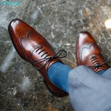 QYFCIOUFU Brogue Shoes Men Dress 100% Genuine Leather Brand Designer Party Wedding Luxury Mens Leisure Casual Formal