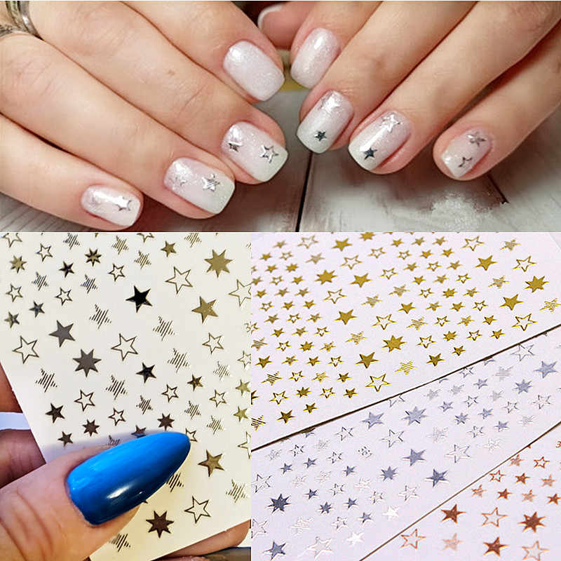 Lovely Stars Geometry 3D Nails Art Sticker gold/silver/rose gold Ornaments self-Adhesive Sliders Manicure Accessories new