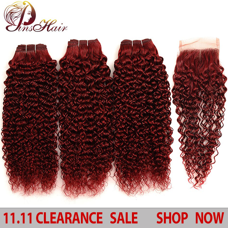 Pinshair Hair Red Bundles With Closure Burgundy 99J Brazilian Kinky Curly Human 3 Non-Remy