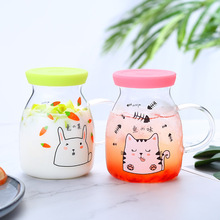 350ml Creative Cartoon Coffee Mug Tea Cup Milk Glass Cup Cartoon Animal Water Cups Kid Milk Coffee Cup Drinkware With Lid ultra light titanium cup mug flower pot outdoor tableware camping cup picnic cup mug coffee tea with lid folding handle 350ml