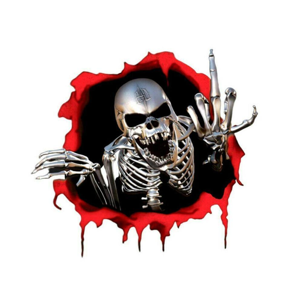 3D Skeleton Skull In The Bullet Hole Reflective Car Stickers Terror Peeked Skeleton Auto Automobile Decals 15*14cm